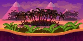 Иллюстрация вектора - безшовная предпосылка - пальмы в пустыне - для игрового дизайна Стоковые Изображения RF