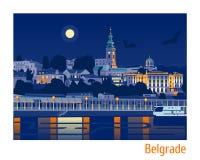 Иллюстрация вектора Белграда ночи Стоковые Фотографии RF