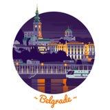 Иллюстрация вектора Белграда ночи Стоковое Изображение