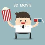 Иллюстрация вектора бизнесмена в стеклах 3D Стоковые Изображения