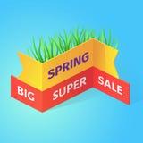 Иллюстрация вектора большой супер продажи весны равновеликая Стоковое Изображение