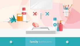 Иллюстрация вектора ванной комнаты семьи Стоковые Фотографии RF