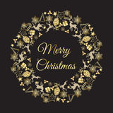 Иллюстрация вектора венка рождества С Рождеством Христовым поздравления стоковая фотография