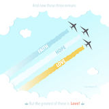 Иллюстрация вектора веры надежды влюбленности самолета символа Иисуса бога стиха библии христианства красочная Стоковые Фотографии RF