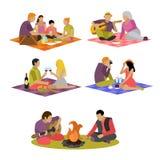 Иллюстрация вектора воссоздания лета Пикник семьи и располагаться лагерем в значках парка плоских иллюстрация вектора
