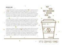 Иллюстрация вектора времени кофе линейная красочная Стоковые Изображения