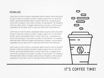 Иллюстрация вектора времени кофе линейная с текстом образца Стоковое Изображение
