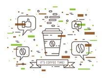 Иллюстрация вектора времени кофе линейная Стоковые Изображения