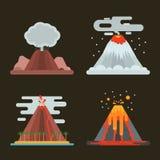 Иллюстрация вектора вулкана установленная Стоковые Изображения