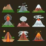 Иллюстрация вектора вулкана установленная Стоковые Фото