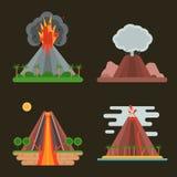 Иллюстрация вектора вулкана установленная Стоковая Фотография RF