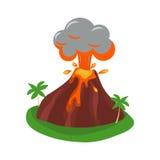 Иллюстрация вектора вулкана установленная Стоковые Фотографии RF