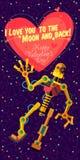 Иллюстрация вектора в плоском стиле о роботе карточка 2007 приветствуя счастливое Новый Год Стоковое фото RF