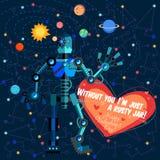 Иллюстрация вектора в плоском стиле о роботе карточка 2007 приветствуя счастливое Новый Год Стоковая Фотография