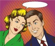 Иллюстрация вектора в стиле искусства шипучки Женщина и человек говорят друг к другу Ретро шуточное Сплетня, распространяет слухи иллюстрация вектора