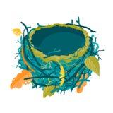 Иллюстрация вектора гнезда голубой осени пустая Стоковое Изображение