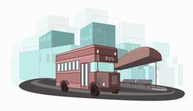 Иллюстрация вектора городского  Ñ olorful шины города Стоковое Изображение