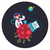 Иллюстрация вектора года 2016 смешного свободного от игры дня поздравительной открытки старая с обезьяной на красной планете Стоковое фото RF