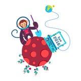 Иллюстрация вектора года 2016 смешного свободного от игры дня поздравительной открытки старая с обезьяной на красной планете Стоковая Фотография RF