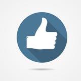 Иллюстрация вектора голубого большого пальца руки вверх по значку с Стоковые Фотографии RF