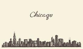 Иллюстрация вектора гравировки города горизонта Чикаго Стоковое Изображение