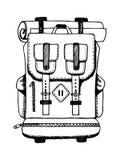 Иллюстрация вектора гравировки рюкзака Стоковые Фотографии RF