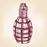 Иллюстрация вектора гранаты нарисованная рукой Стоковое фото RF