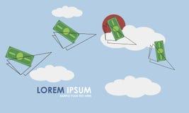 Иллюстрация вектора денег и самолета плана бумажного Стоковая Фотография