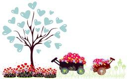 Иллюстрация вектора дерева с сердцем Стоковая Фотография