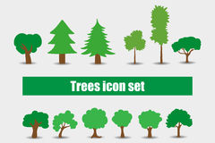 Иллюстрация вектора деревьев установленная значками Стоковое Фото
