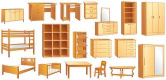 Иллюстрация вектора деревянной мебели установленная