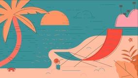 Иллюстрация вектора лета пляжа Стоковое Изображение RF