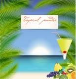 Иллюстрация вектора летних отпусков с коктеилем Стоковое Изображение RF