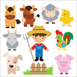 Иллюстрация вектора животноводческих ферм Стоковые Фотографии RF