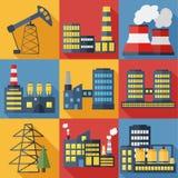 Иллюстрация вектора заводов и фабрик Стоковые Изображения