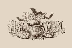 Иллюстрация вектора заголовка тыквы хеллоуина винтажная стоковая фотография