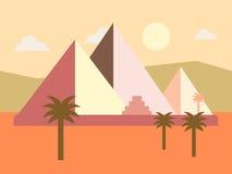 Иллюстрация вектора захода солнца пирамид Египта пустыни плоская Стоковые Изображения RF