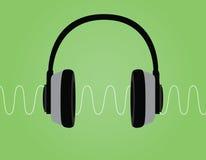 Иллюстрация вектора звуковой войны сигнала шума наушников с зеленой предпосылкой Стоковые Фото