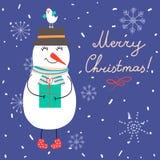 Иллюстрация вектора зимы с снеговиком и птицей Стоковое Изображение