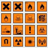 Иллюстрация вектора знака опасности 16 общих Стоковые Изображения RF