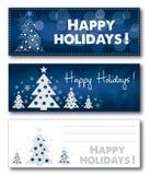 Иллюстрация вектора знамени счастливого рождества праздника голубая иллюстрация штока
