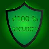 Иллюстрация вектора значка безопасностью безопасность 100 gren beckgraund Стоковые Фотографии RF