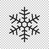 Иллюстрация вектора значка снежинки в плоском стиле изолированная на iso Стоковые Изображения
