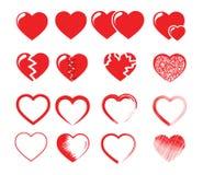 Иллюстрация вектора значка установленная красных сердец Стоковые Изображения RF