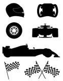 Иллюстрация вектора значков гонок черного силуэта установленная Стоковые Фото