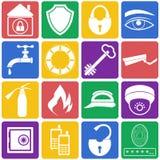 Иллюстрация вектора значков домашней безопасностью Плоский комплект Стоковая Фотография