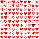 Иллюстрация вектора 100 значков сердца нарисованная рукой Стоковая Фотография