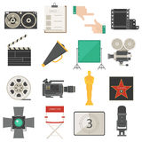 Иллюстрация вектора значков символов кино установленная Стоковое Изображение