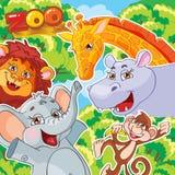 Иллюстрация вектора. Зоопарк. Радостные животные. Стоковое Изображение
