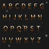 Иллюстрация вектора золотого алфавита Стоковое Изображение